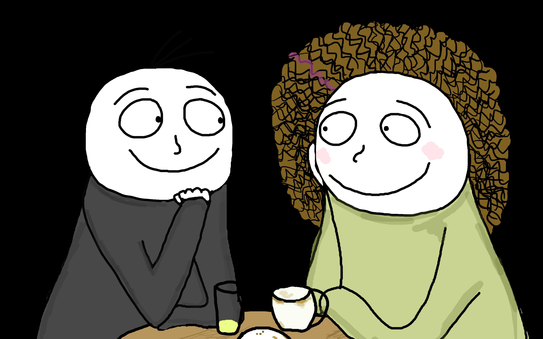 Marcin og Mie glade på café